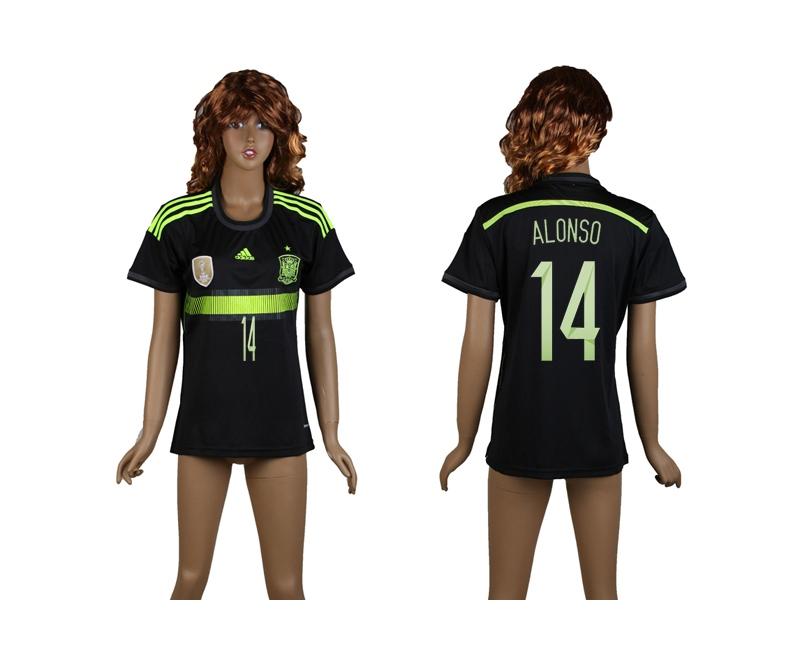 Spain 14 Alonso 2014 World Cup Away Soccer Women Jerseys