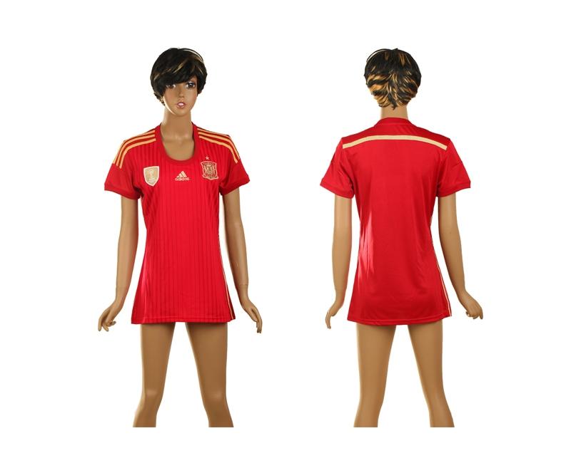 Spain 2014 World Cup Home Soccer Women Jerseys