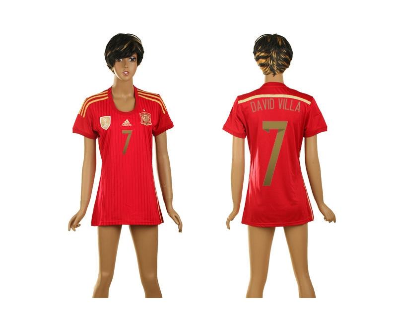 Spain 7 David Villa 2014 World Cup Home Soccer Women Jerseys