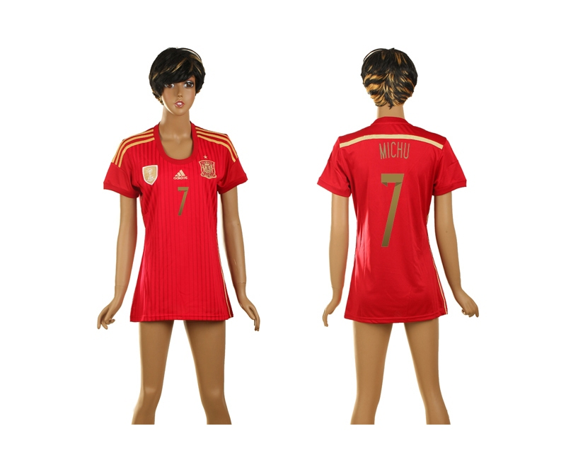 Spain 7 Michu 2014 World Cup Home Soccer Women Jerseys