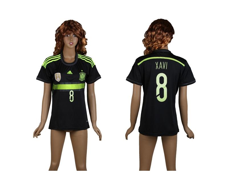 Spain 8 Xavi 2014 World Cup Away Soccer Women Jerseys