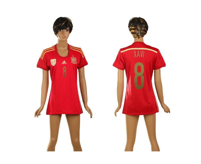 Spain 8 Xavi 2014 World Cup Home Soccer Women Jerseys
