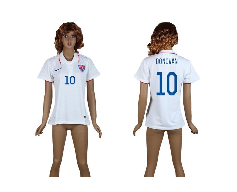 USA 10 Donovan 2014 World Cup Home Soccer Women Jerseys