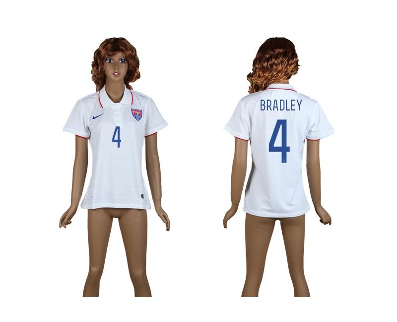 USA 4 Bradley 2014 World Cup Home Soccer Women Jerseys