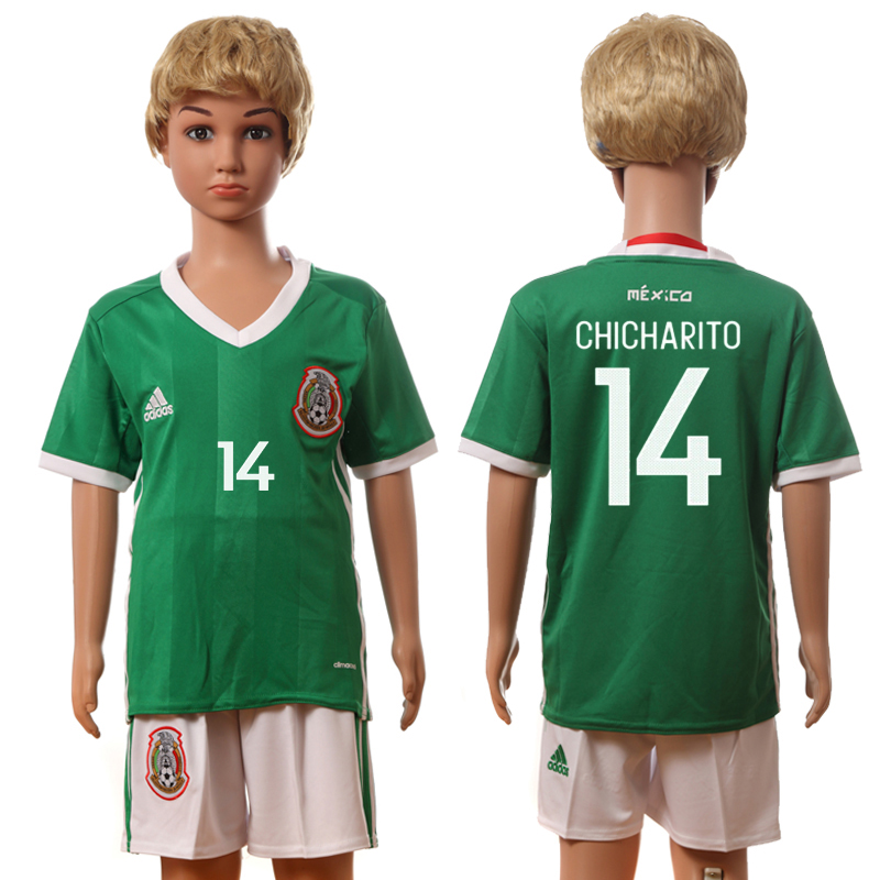 2016-17 Mexico 14 CHICHARITO Home Youth Jersey