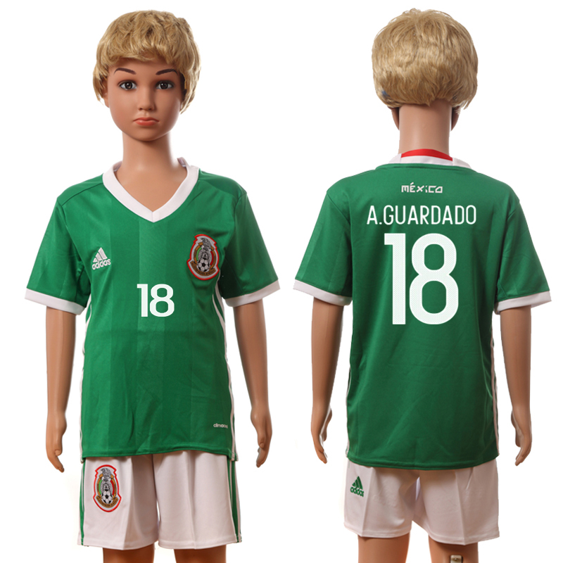 2016-17 Mexico 18 A.GUARDADO Home Youth Jersey