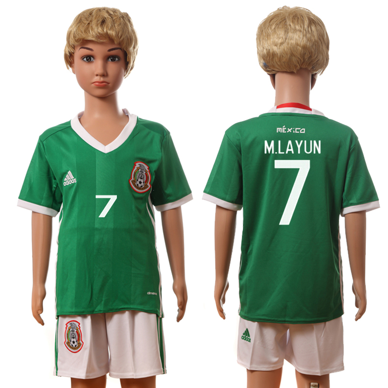 2016-17 Mexico 7 M.LAYUN Home Youth Jersey