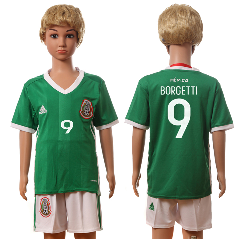 2016-17 Mexico 9 BORGETTI Home Youth Jersey