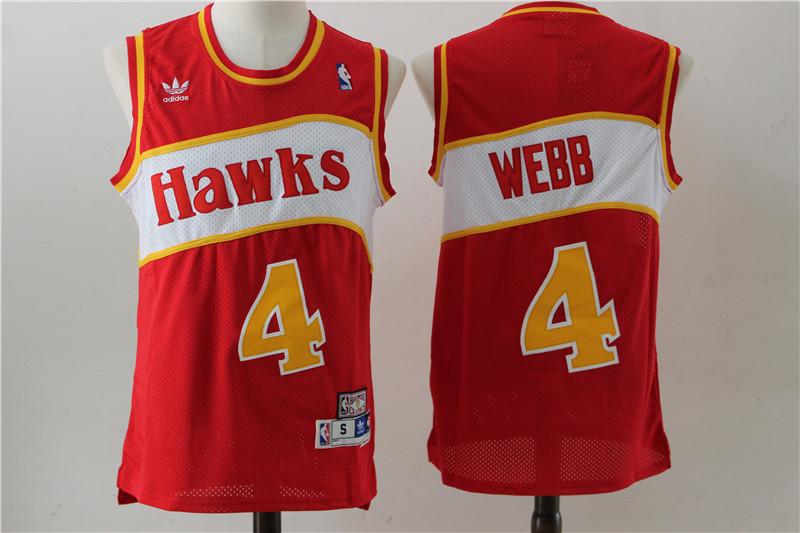 Hawks 4 Spud Webb Red Hardwood Classics Jersey