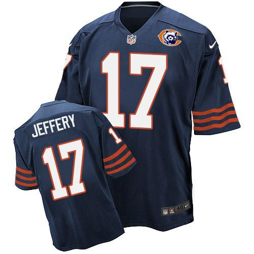 Nike Bears 17 Alshon Jeffery Blue Throwback Elite Jersey