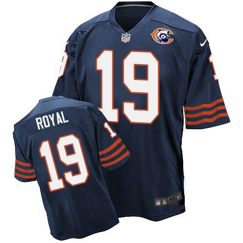 Nike Bears 19 Eddie Royal Blue Throwback Elite Jersey