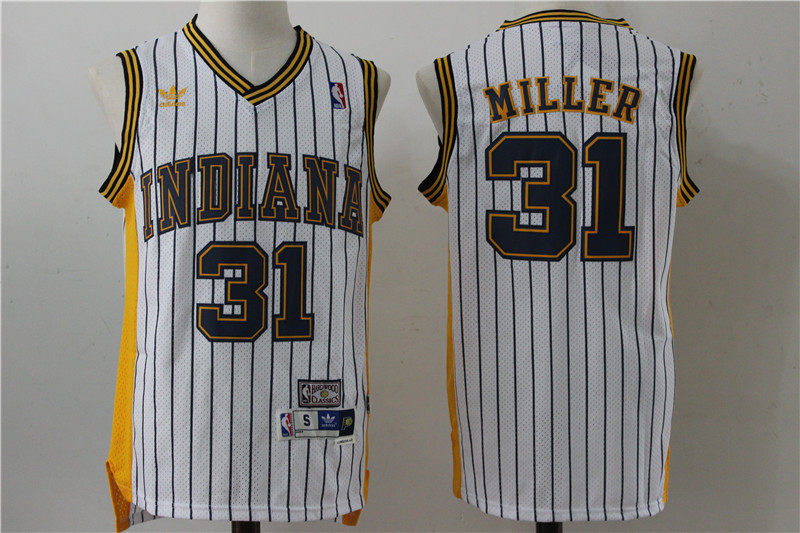 Pacers 31 Reggie Miller White Hardwood Classics Jersey