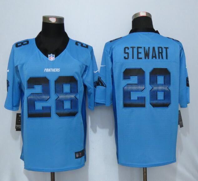 Nike Panthers 28 Jonathan Stewart Blue Pro Line Fashion Strobe Jersey