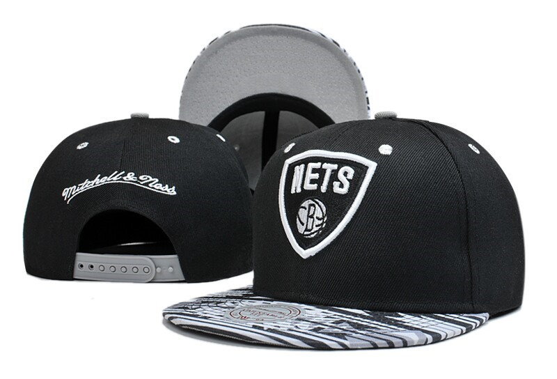 Nets Team Logo Black Mitchell & Ness Adjustable Hat LT