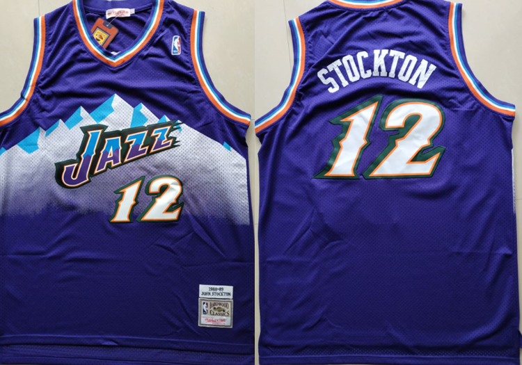 Jazz 12 John Stockton Purple Hardwood Classics Jersey