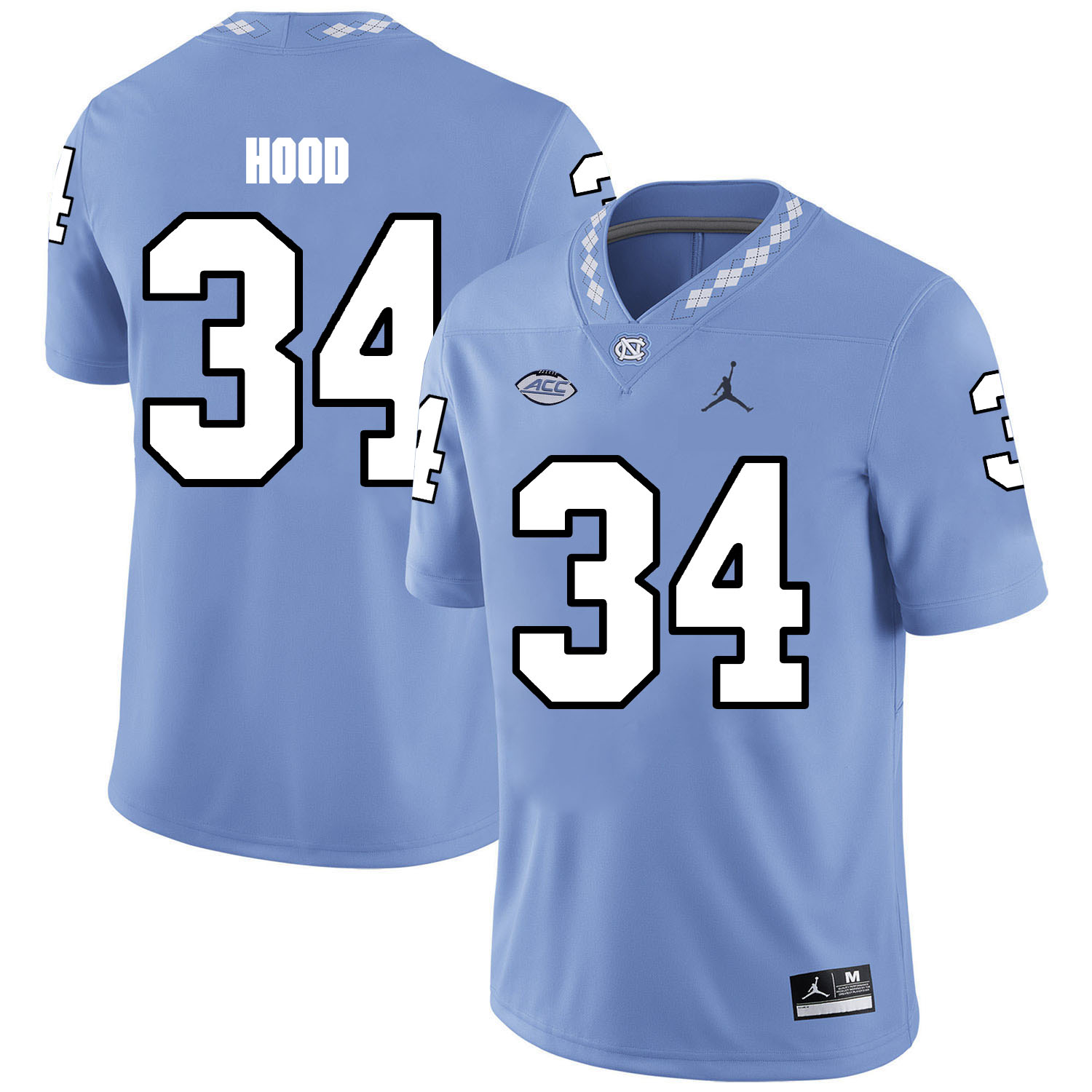 North Carolina Tar Heels 34 Elijah Hood Blue College Football Jersey