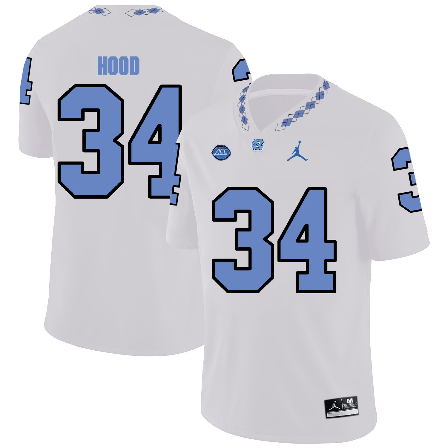 North Carolina Tar Heels 34 Elijah Hood White College Football Jersey
