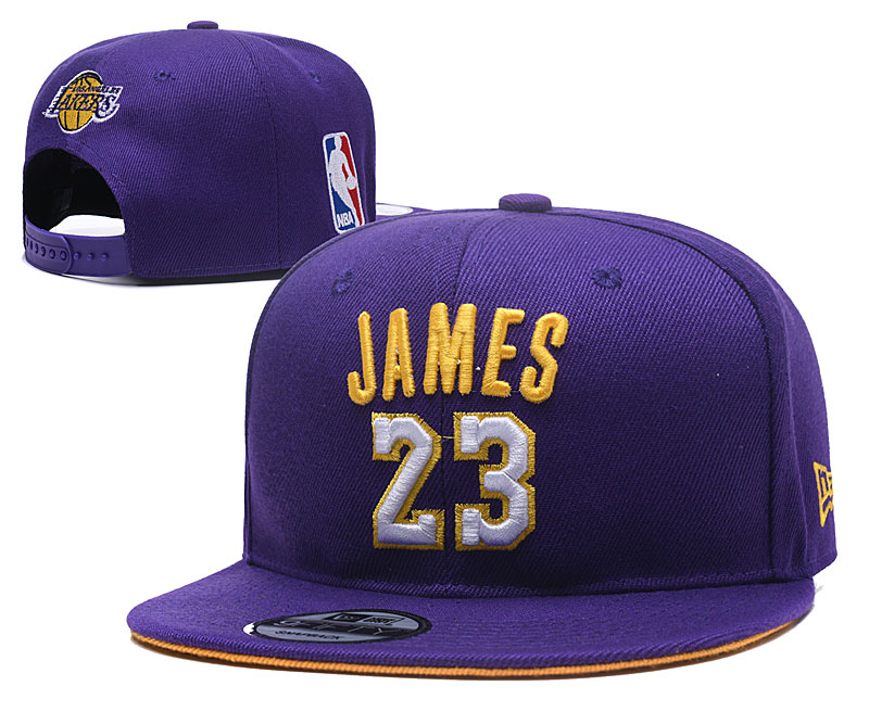 Lakers JAMES 23 Logo Purple Adjustable Hat YD