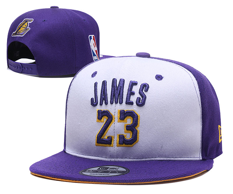 Lakers JAMES 23 Logo Purple White Adjustable Hat YD