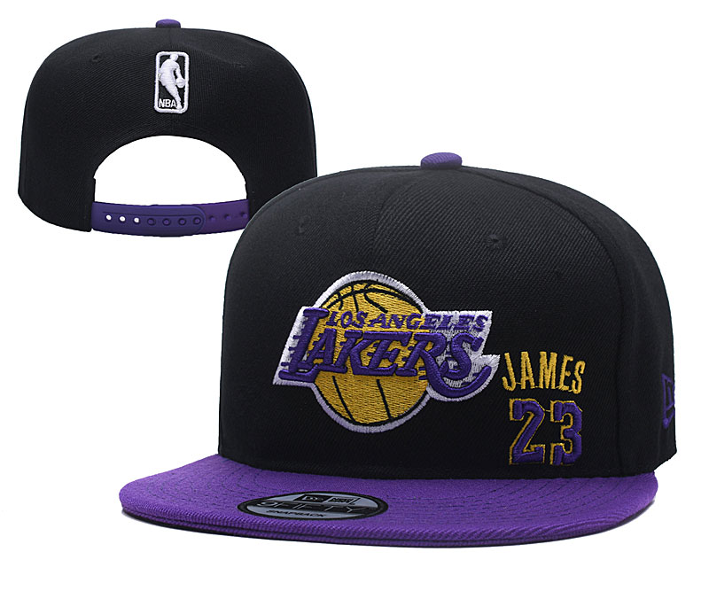 Lakers Team Logo Black Adjustable Hat YD