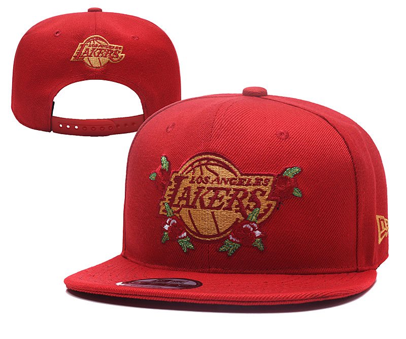 Lakers Team Logo Red Adjustable Hat YD