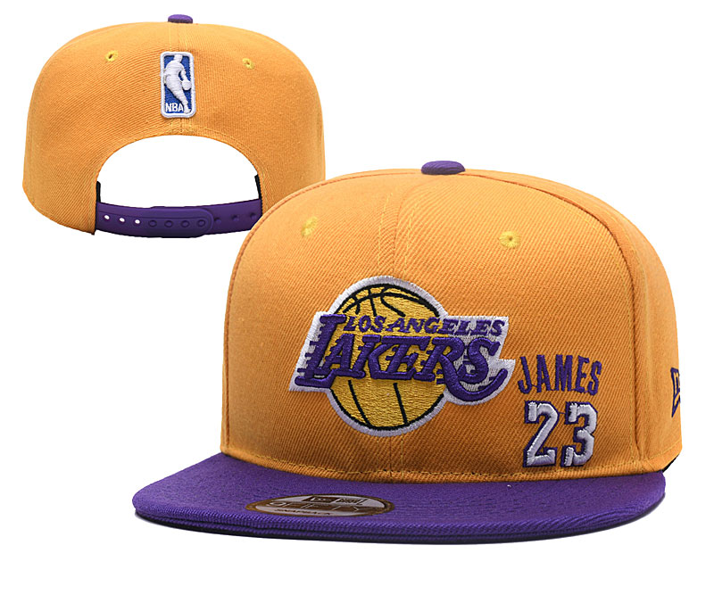 Lakers Team Logo Yellow Adjustable Hat YD