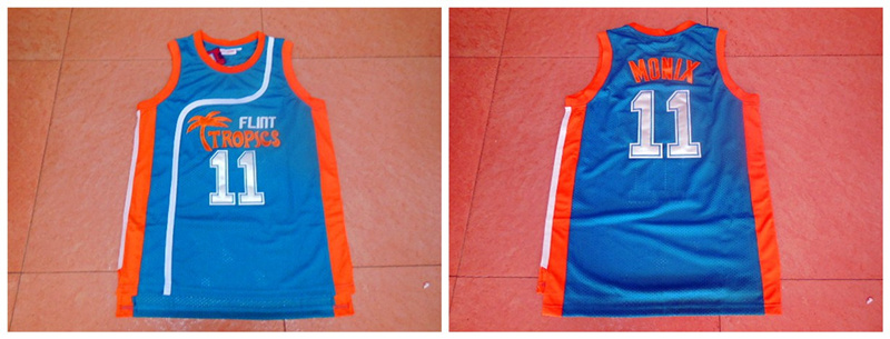 Flint Tropics 11 Ed Monix Blue Semi Pro Movie Stitched Basketball Jersey