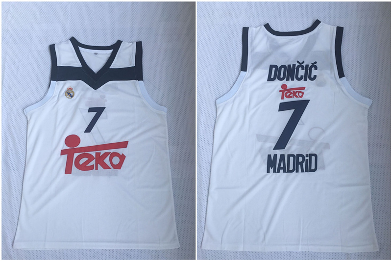 Real Madrid 7 Luka Doncic White Black Basketball Home Jersey 2017/18