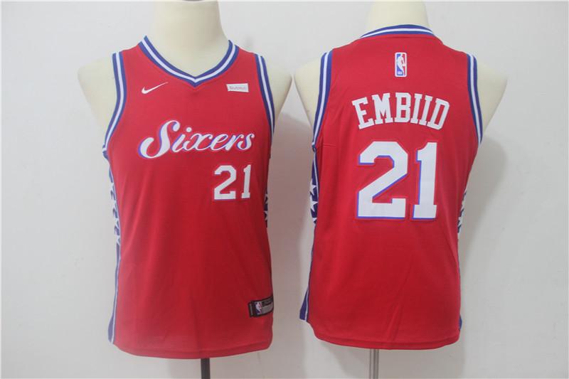 76ers 21 Joel Embiid Red Youth Nike Swingman Jersey