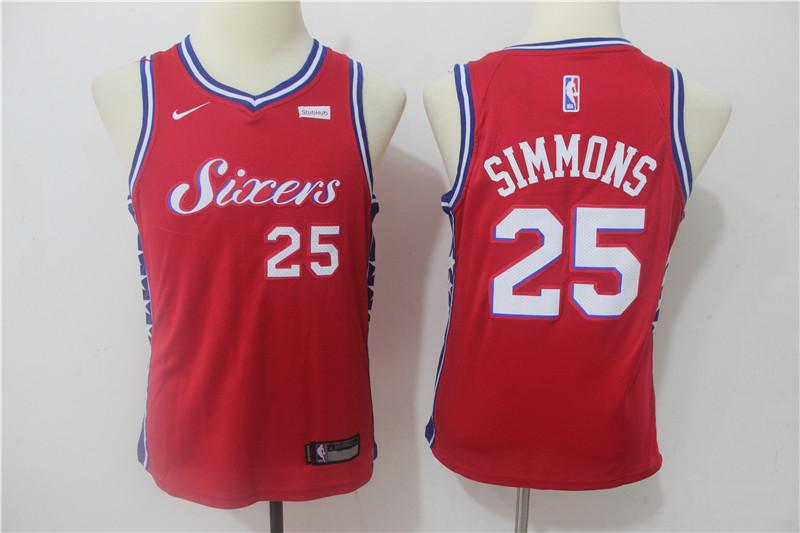 76ers 25 Ben Simmons Red Youth Nike Swingman Jersey