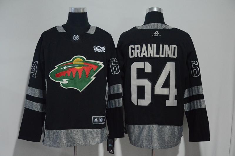 Wild 64 Mikael Granlund Black 1917-2017 100th Anniversary Adidas Jersey
