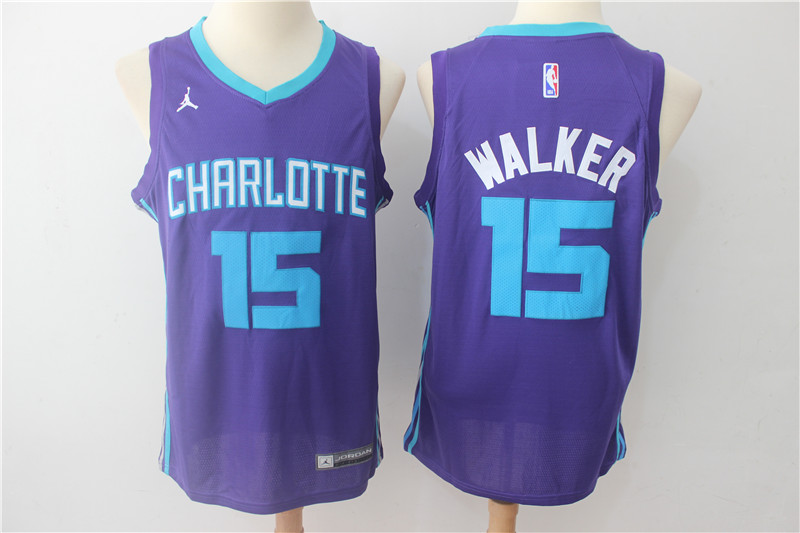 Hornets 15 Kemba Walker Purple Swingman Jersey