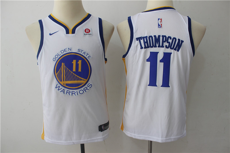 Warriors 11 Klay Thompson White White Youth Nike Swingman Jersey