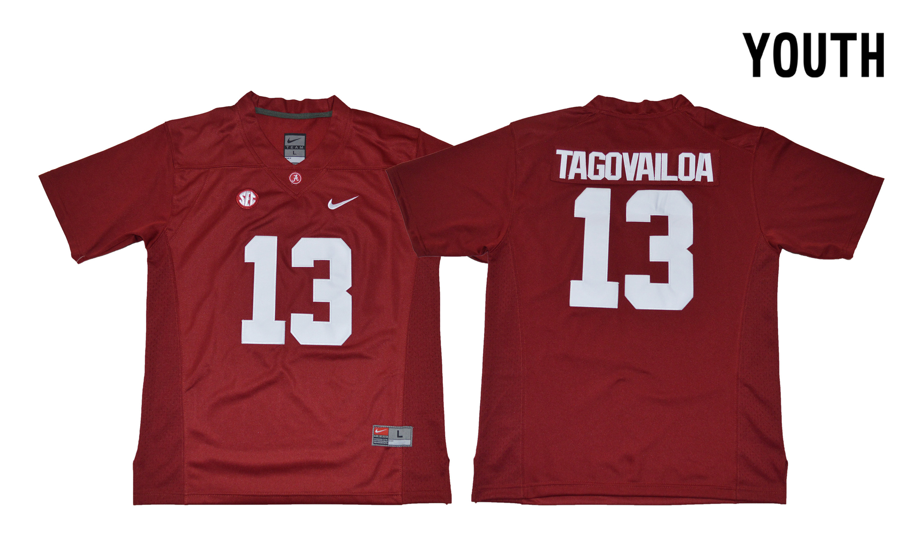 Alabama Crimson Tide 13 Tua Tagovailoa Red Youth With Diamond Logo College Football Jersey
