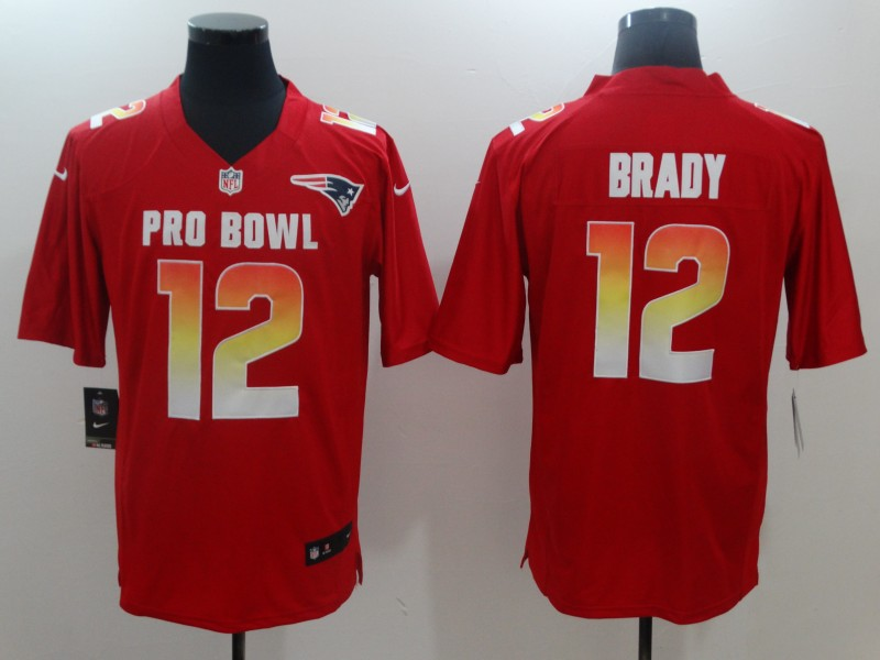 Nike AFC Patriots 12 Tom Brady Red 2018 Pro Bowl Game Jersey