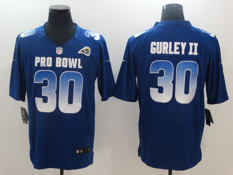 Nike NFC Rams 30 Todd Gurley II Royal 2018 Pro Bowl Game Jersey