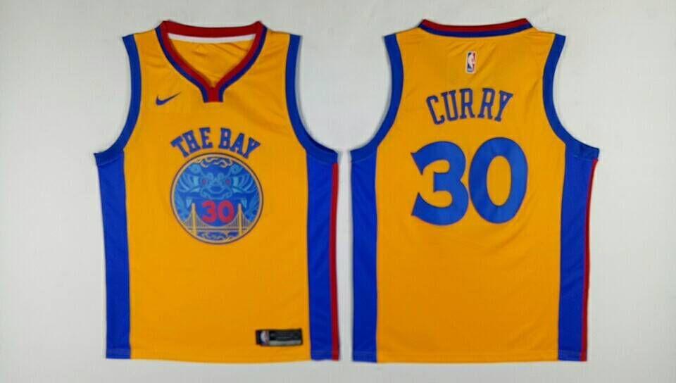 Warriors 30 Stephen Curry Gold City Edition Swingman Jersey