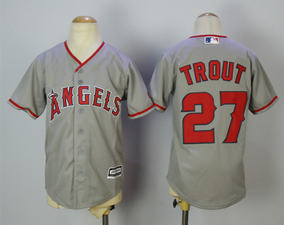 Angels 27 Mike Trout Gray Youth Cool Base Jersey