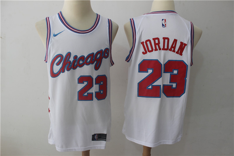 Bulls 23 Michael Jordan White Nike City Edition Swingman Jersey