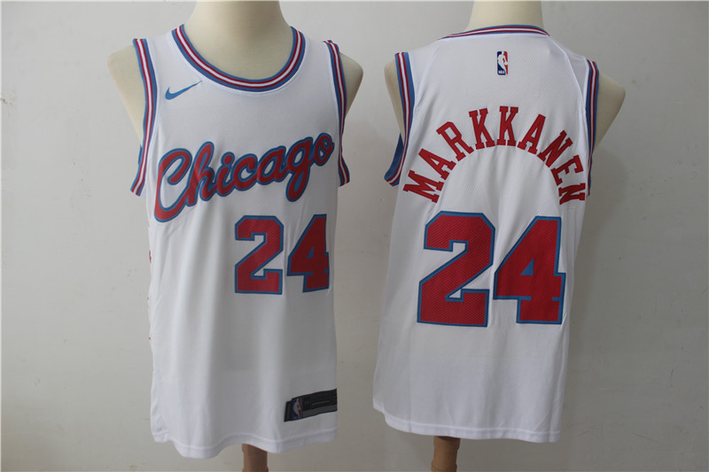 Bulls 24 Laur Markkanen White Nike City Edition Swingman Jersey