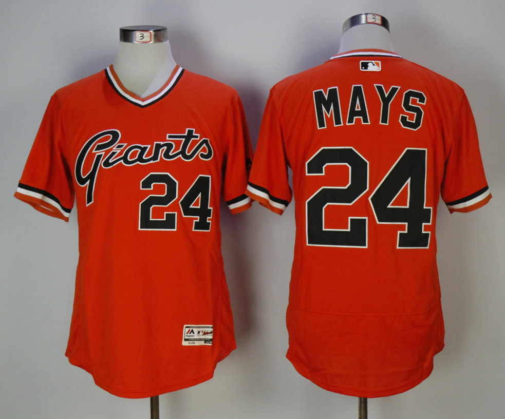Giants 24 Willie Mays Orange 1978 Turn Back The Clock Cool Base Jersey