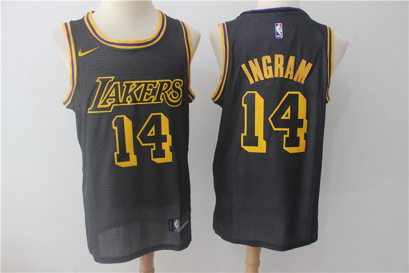 Lakers 14 Brandon Ingram Black Nike City Edition Swingman Jersey