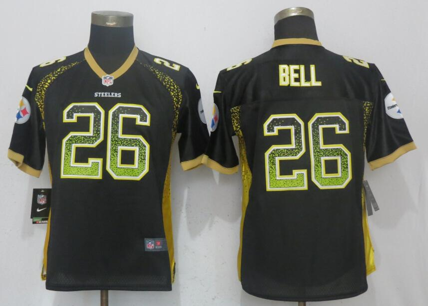 Nike Steelers 26 Le'Veon Bell Black Women Drift Fashion Jersey