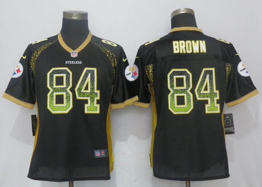 Nike Steelers 84 Antonio Brown Black Women Drift Fashion Jersey