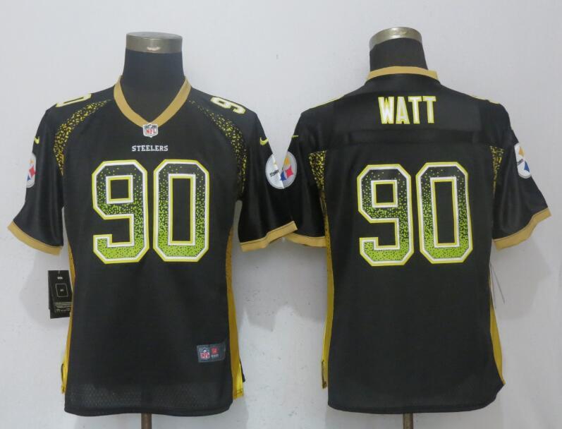 Nike Steelers 90 T.J. Watt Black Women Drift Fashion Jersey