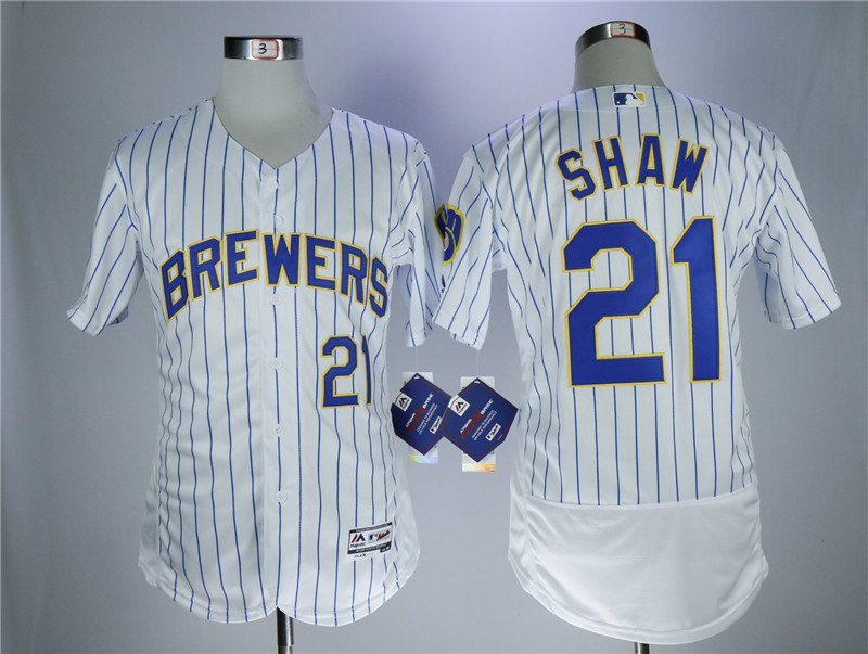 Brewers 21 Travis Shaw White Flexbase Jersey