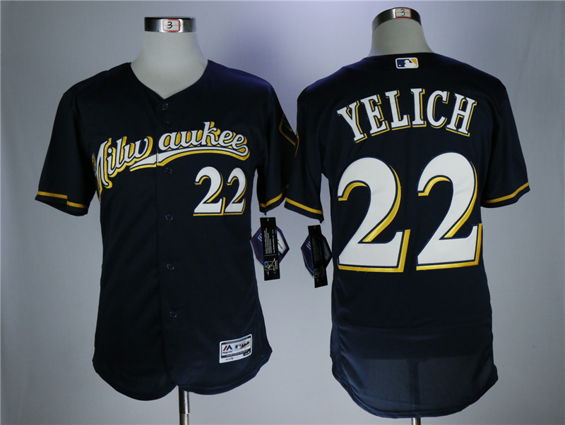 Brewers 22 Christian Yelich Navy Flexbase Jersey