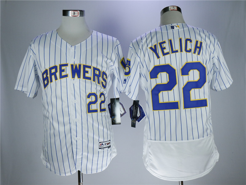 Brewers 22 Christian Yelich White Flexbase Jersey