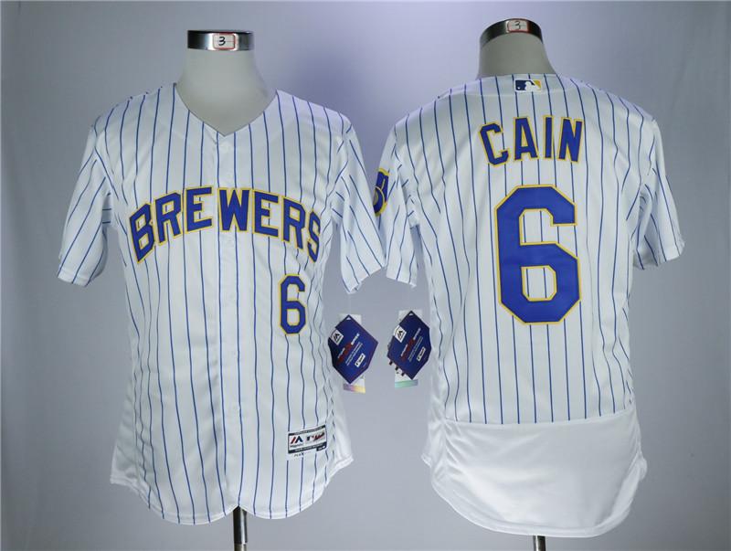 Brewers 6 Lorenzo Cain White Flexbase Jersey