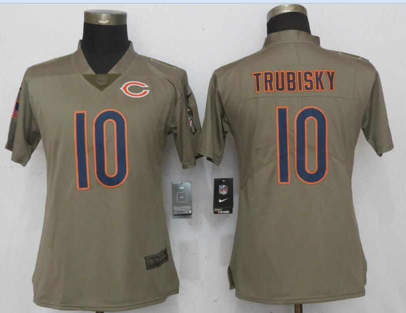 Nike Bears 10 Mitchell Trubisky Olive Women Salute To Service Limited Jersey